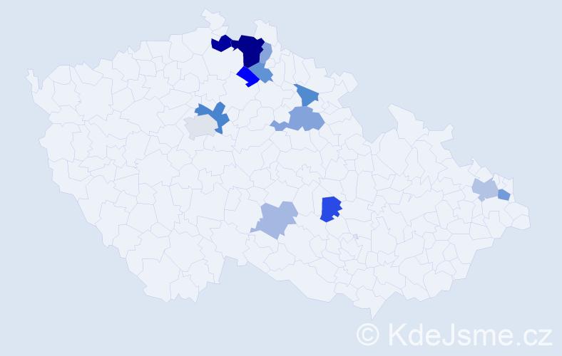 Příjmení: 'Copová', počet výskytů 27 v celé ČR