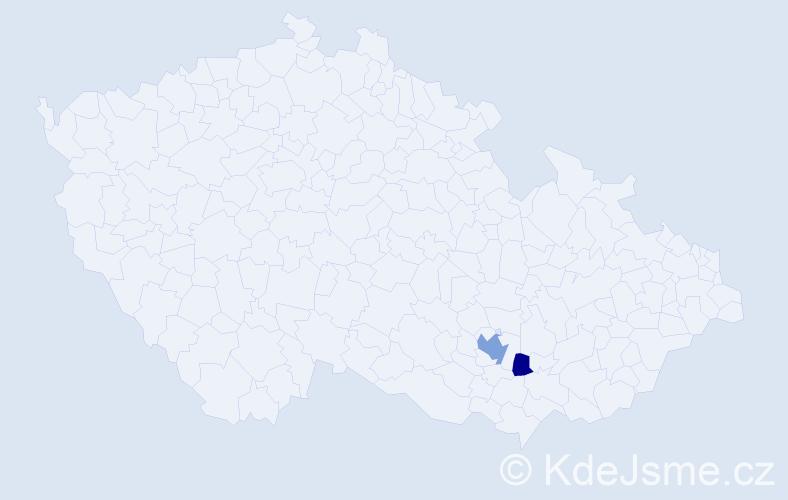 Příjmení: 'Vzácná', počet výskytů 4 v celé ČR