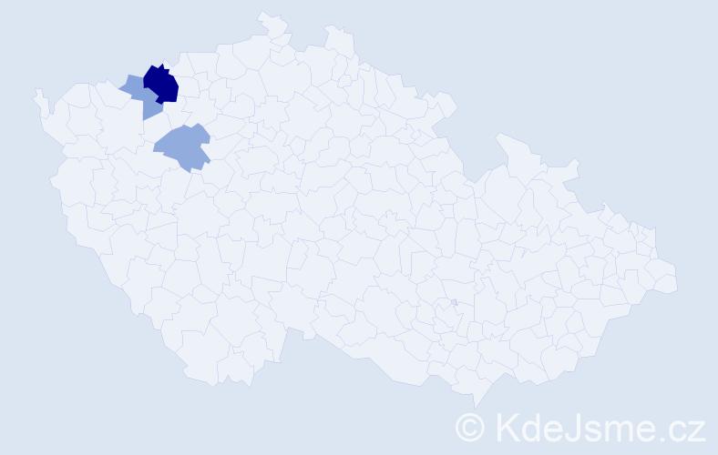 Příjmení: 'Bišingerová', počet výskytů 9 v celé ČR
