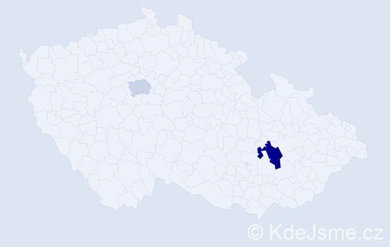 Příjmení: 'Bizdra', počet výskytů 5 v celé ČR