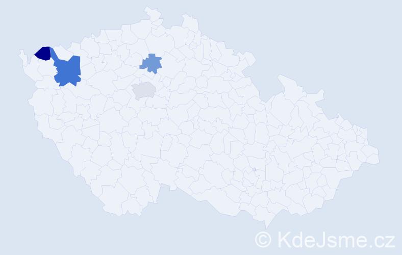 Příjmení: 'Cikaníková', počet výskytů 7 v celé ČR