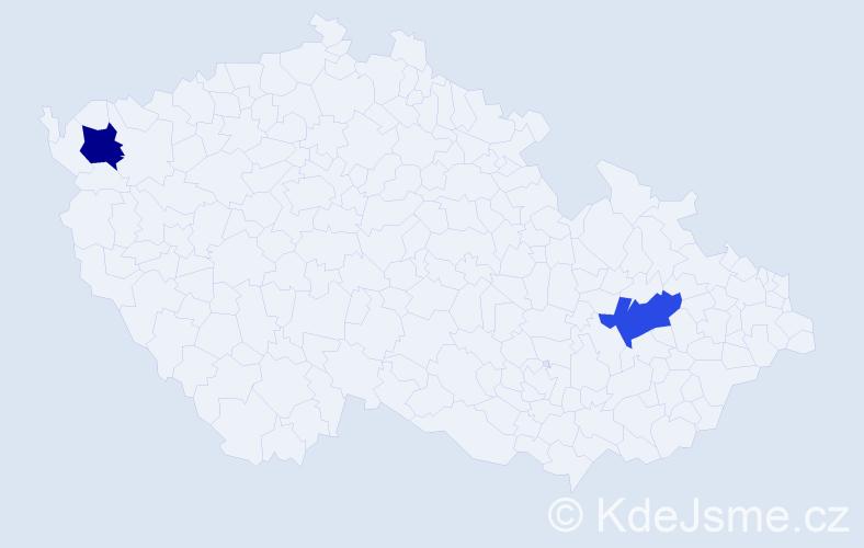 Příjmení: 'Ďurišinová', počet výskytů 2 v celé ČR