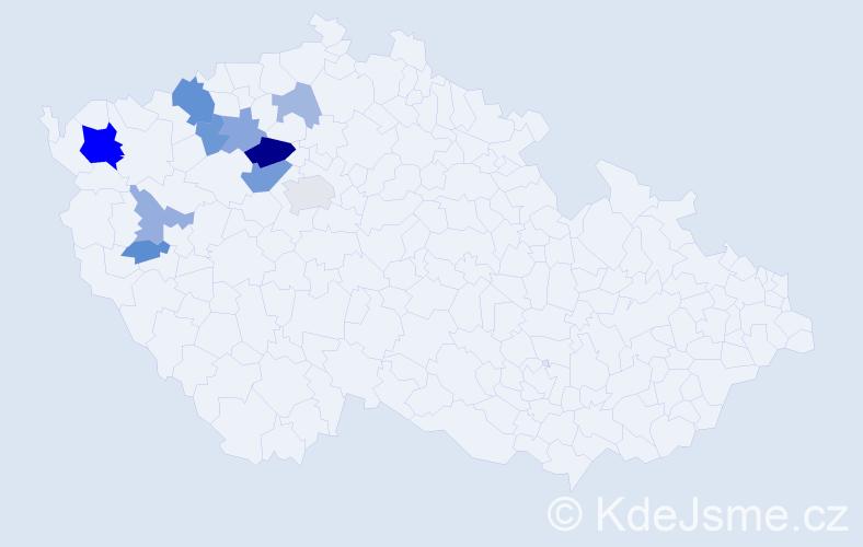 Příjmení: 'Hafenrichterová', počet výskytů 23 v celé ČR