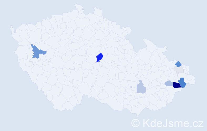Příjmení: 'Krpela', počet výskytů 20 v celé ČR