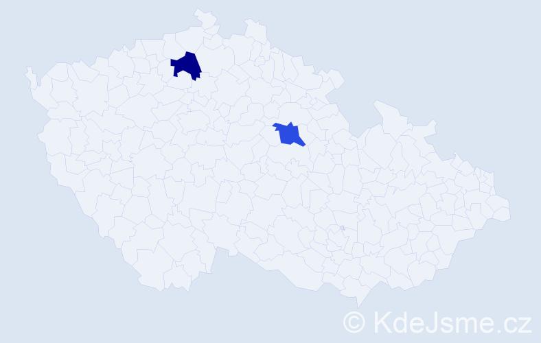 Příjmení: 'Jaselský', počet výskytů 2 v celé ČR