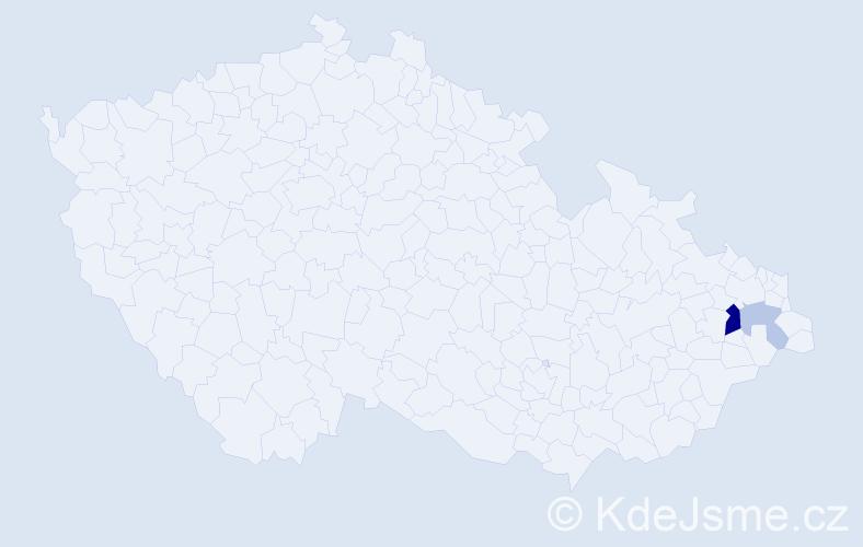 Příjmení: 'Lanáková', počet výskytů 5 v celé ČR
