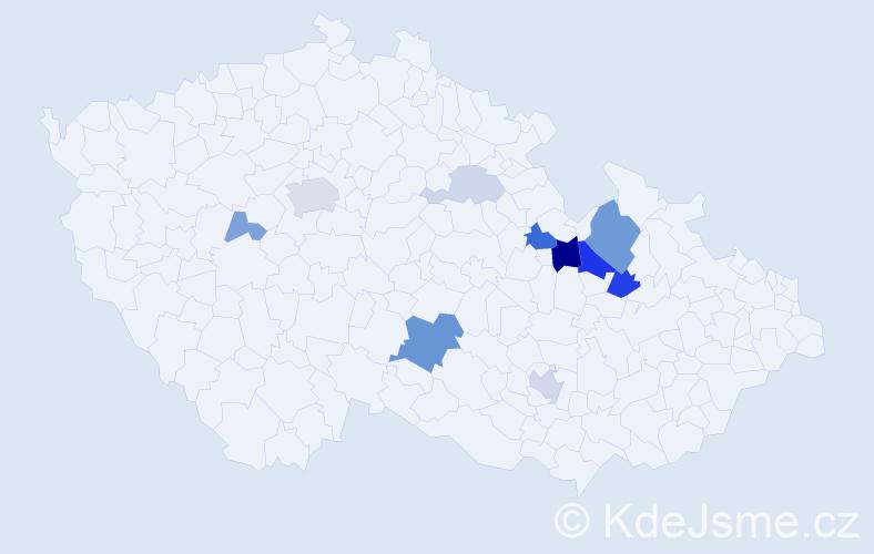 Příjmení: 'Chlebníček', počet výskytů 25 v celé ČR