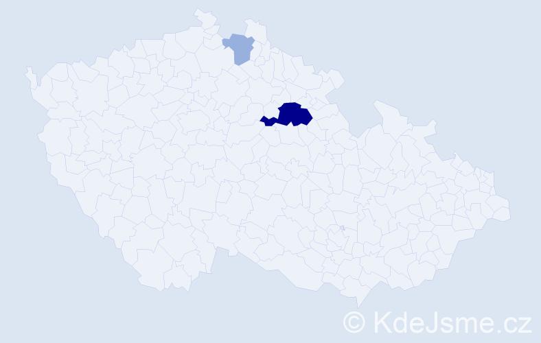 Příjmení: 'Kyceltová', počet výskytů 13 v celé ČR