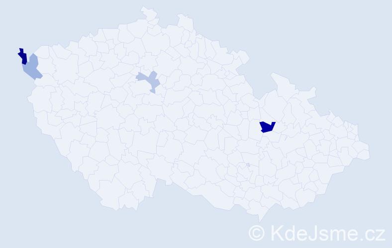 Příjmení: 'Irišek', počet výskytů 6 v celé ČR
