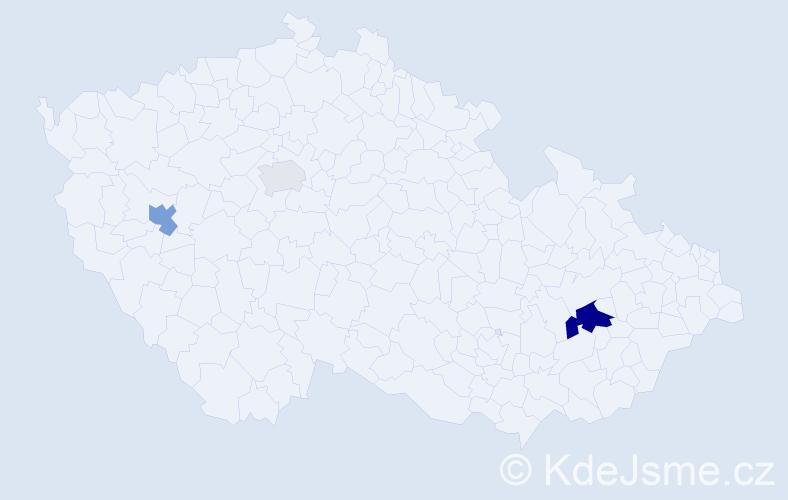 Příjmení: 'Cín', počet výskytů 7 v celé ČR