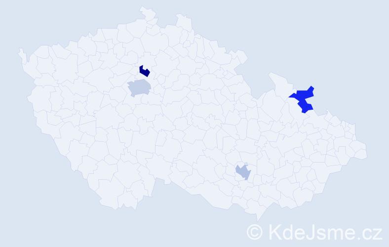 Příjmení: 'Jamalová', počet výskytů 5 v celé ČR
