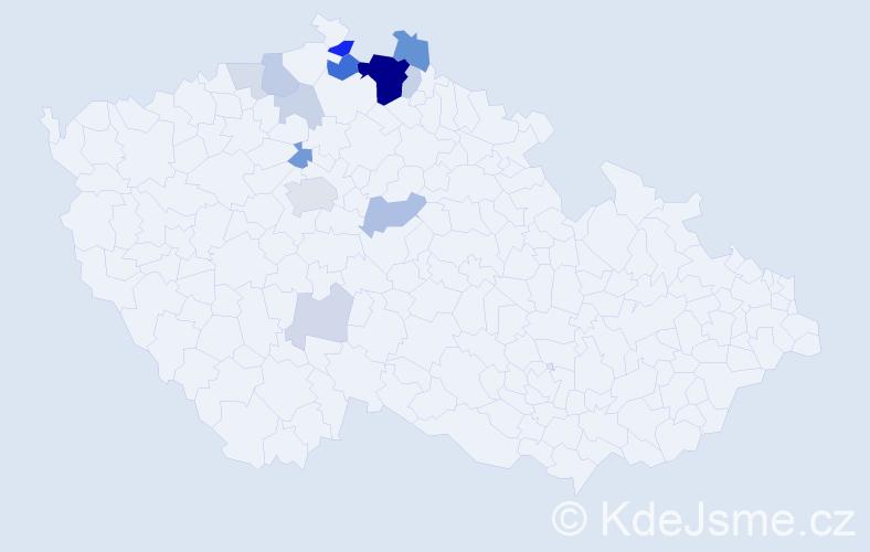 Příjmení: 'Fetr', počet výskytů 44 v celé ČR