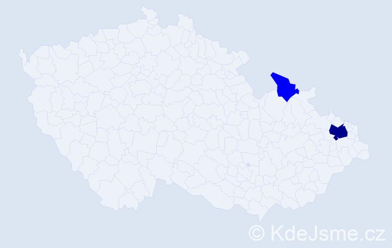 Příjmení: 'Balderman', počet výskytů 7 v celé ČR