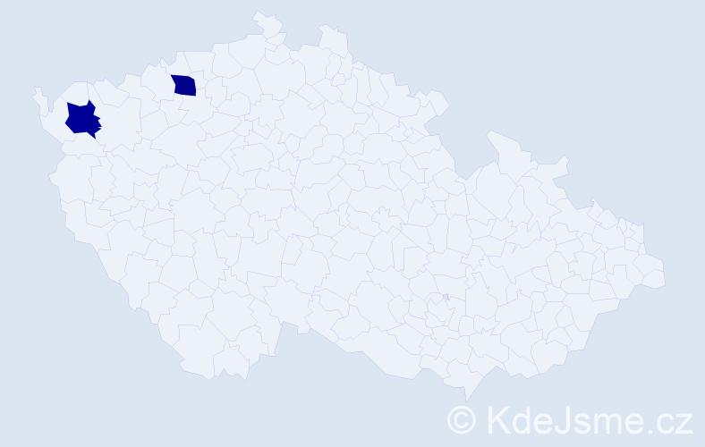Příjmení: 'Jansky', počet výskytů 2 v celé ČR