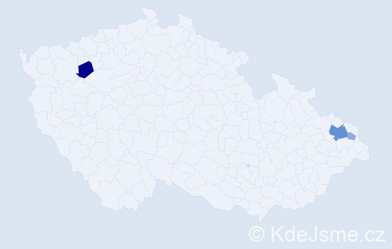 Příjmení: 'Csoroszová', počet výskytů 7 v celé ČR