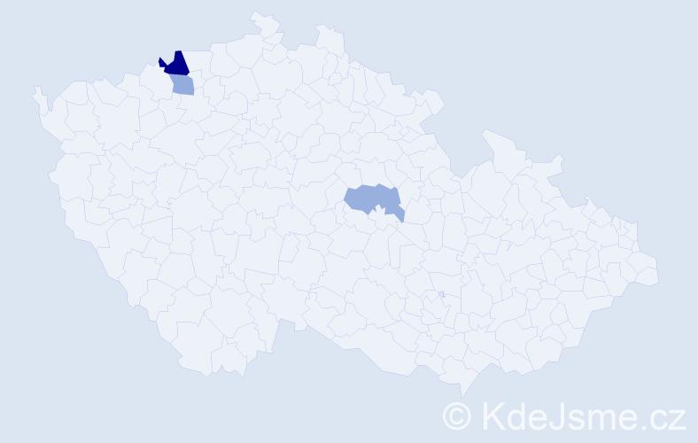 Příjmení: 'Glavicová', počet výskytů 5 v celé ČR