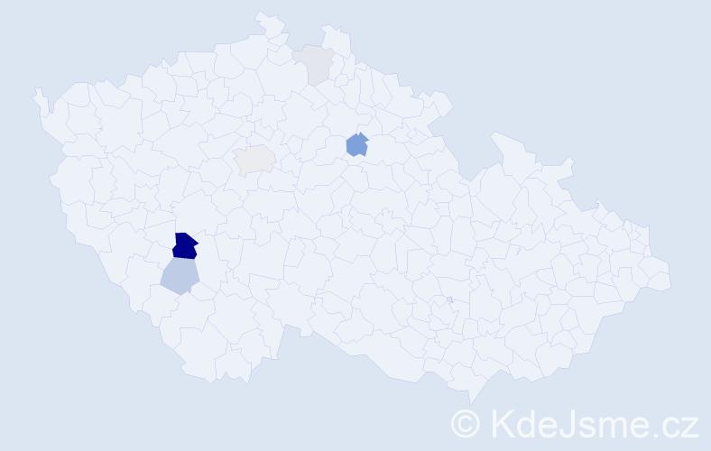 Příjmení: 'Finěk', počet výskytů 22 v celé ČR