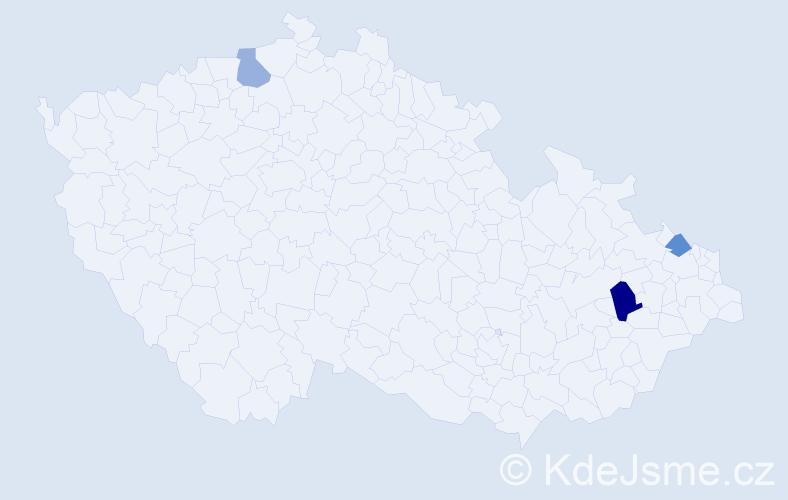 Příjmení: 'Babačová', počet výskytů 4 v celé ČR