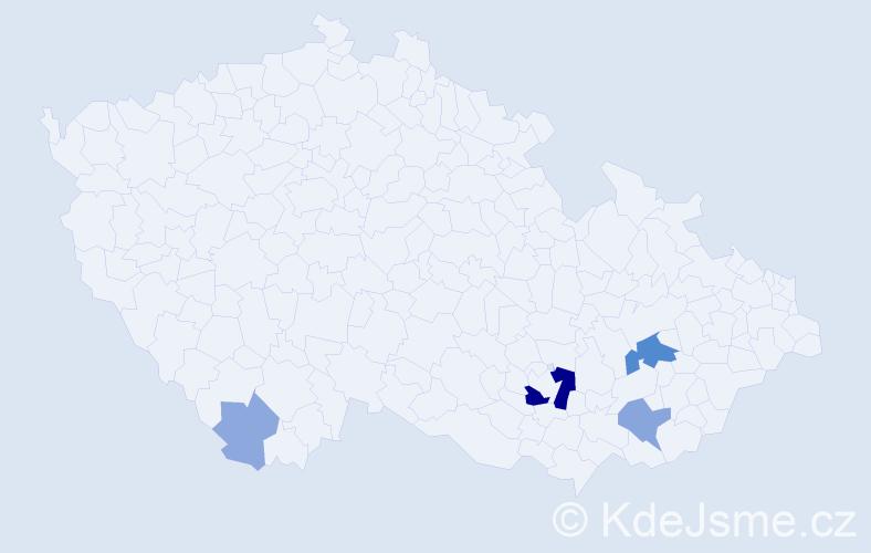 Příjmení: 'Čaklošová', počet výskytů 14 v celé ČR