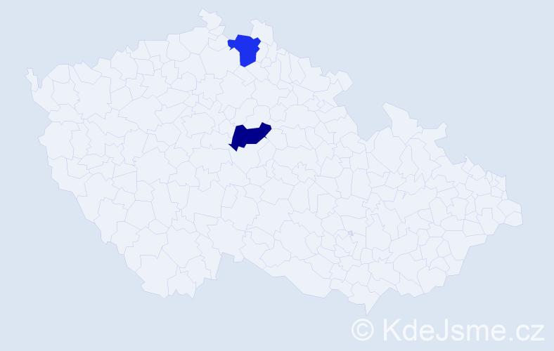 Příjmení: 'Hrončiaková', počet výskytů 2 v celé ČR