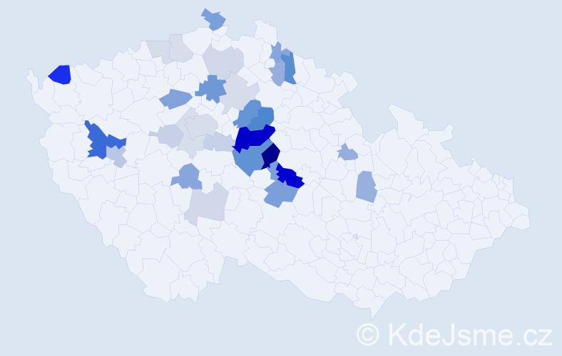 Příjmení: 'Karbusický', počet výskytů 75 v celé ČR