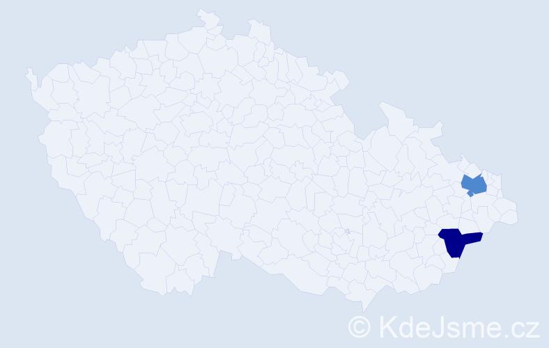 Příjmení: 'Gáličková', počet výskytů 5 v celé ČR
