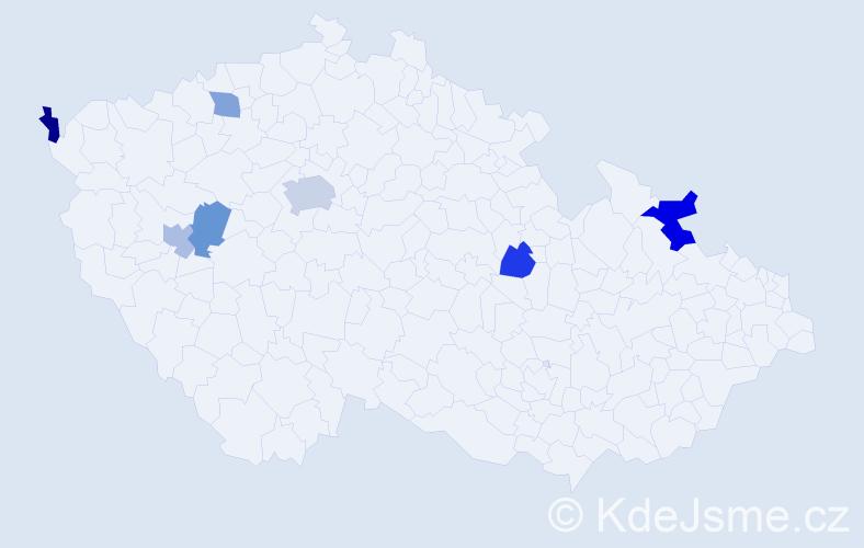Příjmení: 'Abramovič', počet výskytů 10 v celé ČR