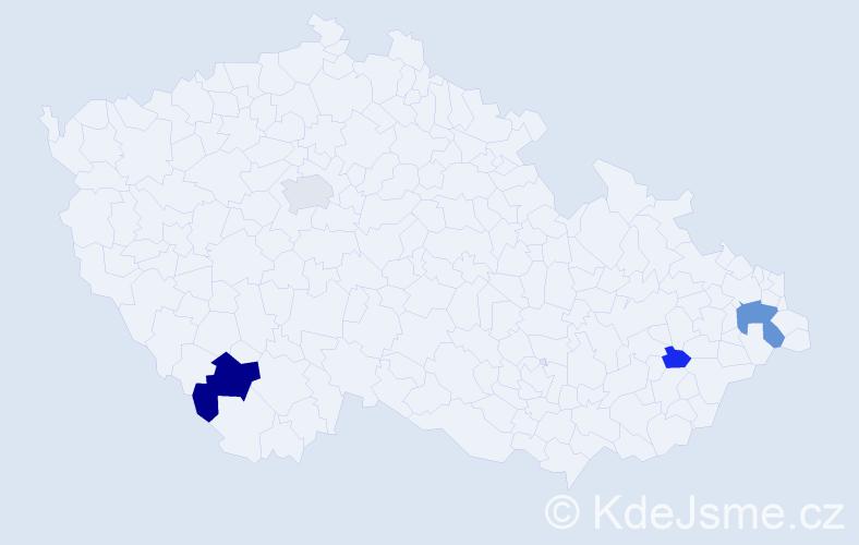 Příjmení: 'Beď', počet výskytů 9 v celé ČR