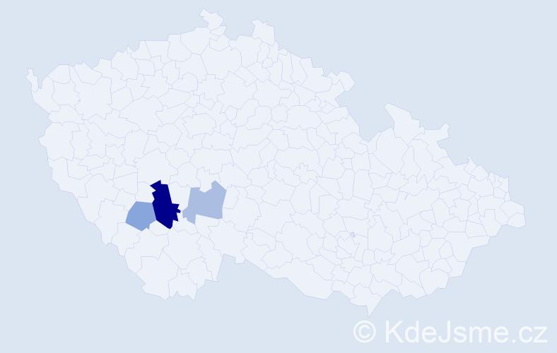 Příjmení: 'Bačeková', počet výskytů 7 v celé ČR
