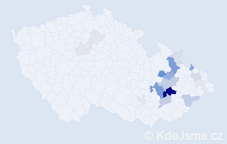 Příjmení: 'Jehlářová', počet výskytů 89 v celé ČR