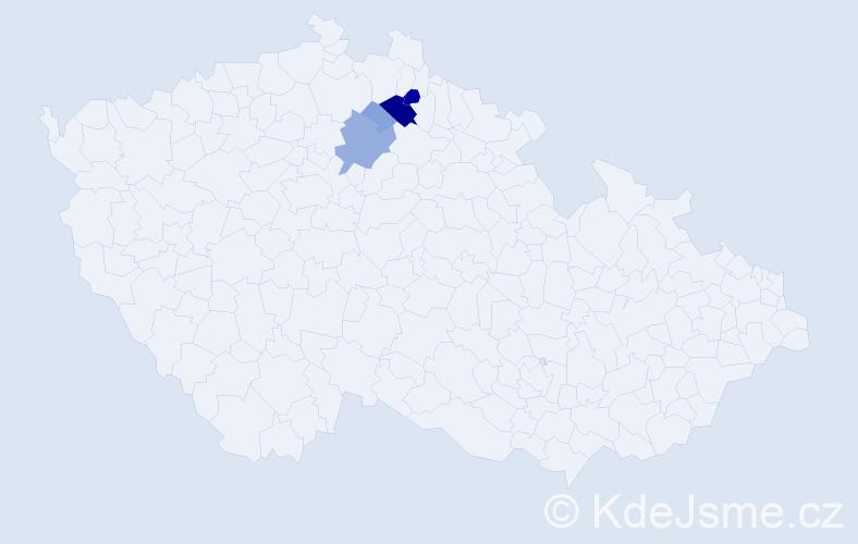 Příjmení: 'Brychcí', počet výskytů 16 v celé ČR