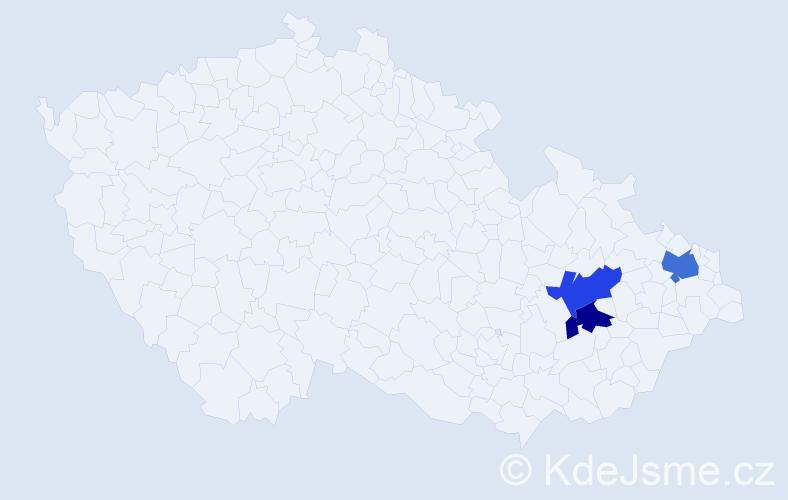 Příjmení: 'Čerch', počet výskytů 7 v celé ČR