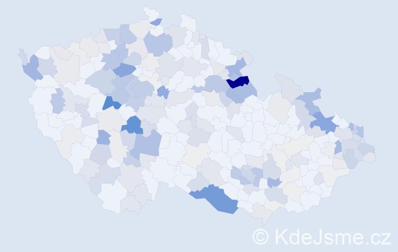Příjmení: 'Jelen', počet výskytů 764 v celé ČR