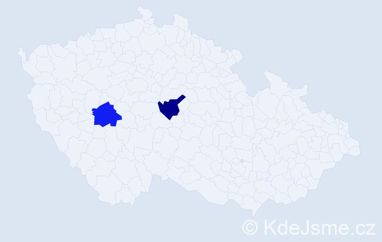 Příjmení: 'Horeš', počet výskytů 4 v celé ČR