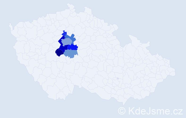 Příjmení: 'Feglarová', počet výskytů 19 v celé ČR