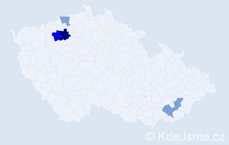 Příjmení: 'Levcová', počet výskytů 6 v celé ČR