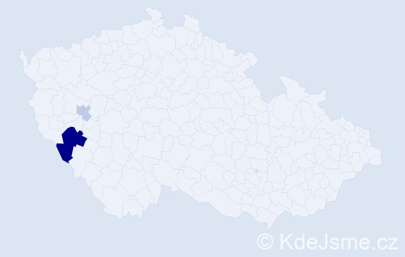 Příjmení: 'Eseny', počet výskytů 5 v celé ČR