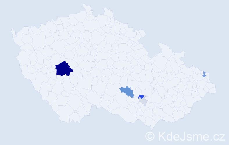 Příjmení: 'Čásarová', počet výskytů 9 v celé ČR