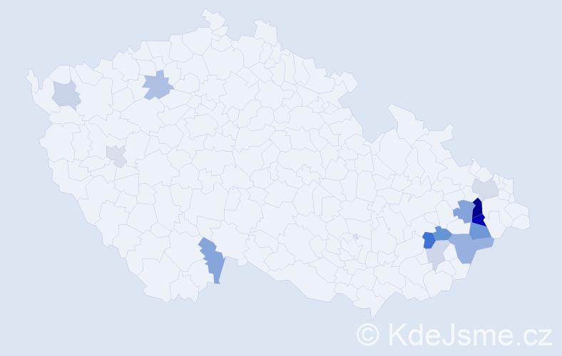 Příjmení: 'Bahnerová', počet výskytů 26 v celé ČR