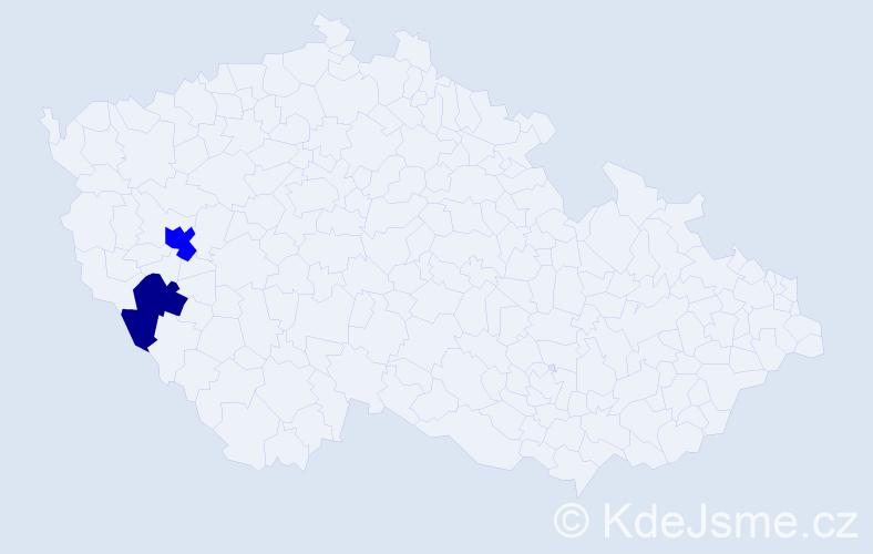 Příjmení: 'Haidelmeierová', počet výskytů 3 v celé ČR