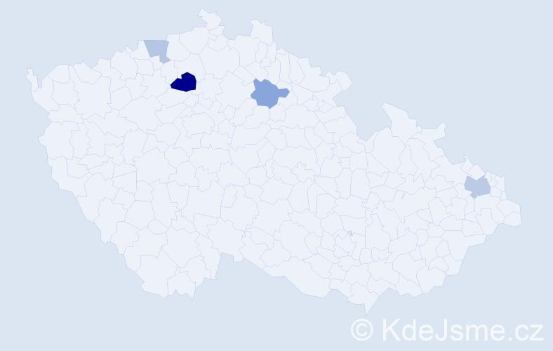 Příjmení: 'Hybel', počet výskytů 7 v celé ČR