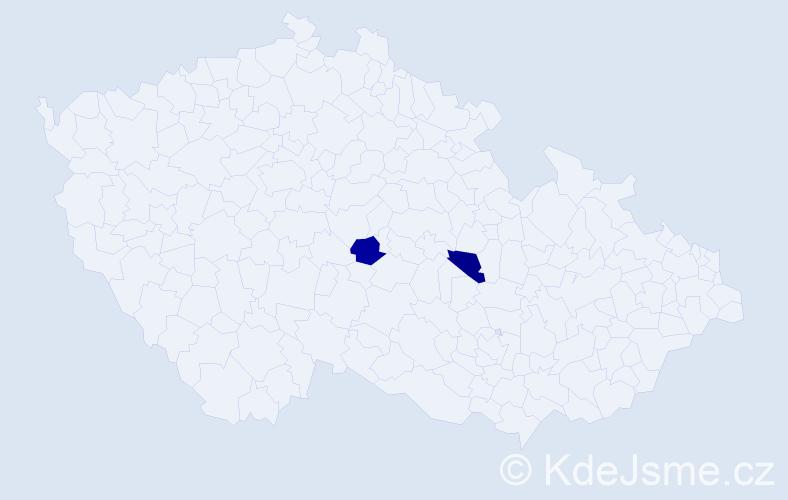 Příjmení: 'Garet', počet výskytů 2 v celé ČR
