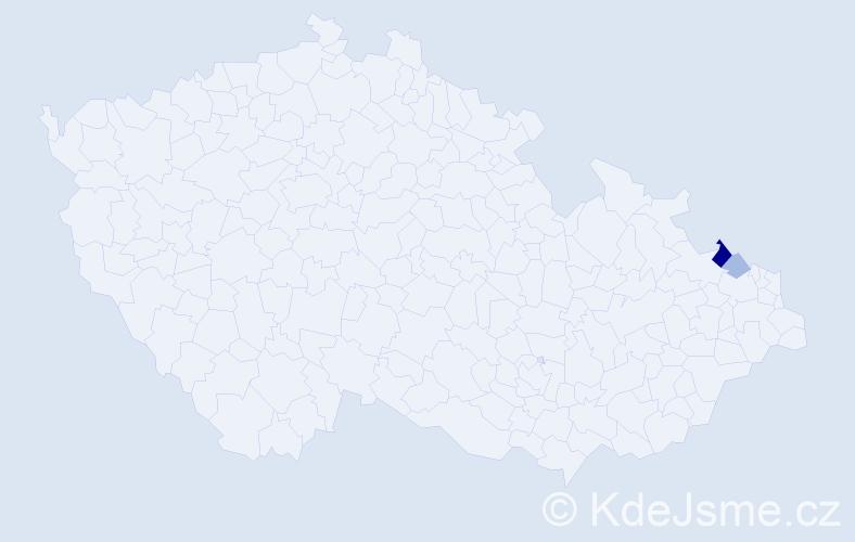 Příjmení: 'Jařábová', počet výskytů 9 v celé ČR