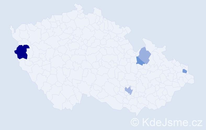 Příjmení: 'Gasparicsová', počet výskytů 10 v celé ČR