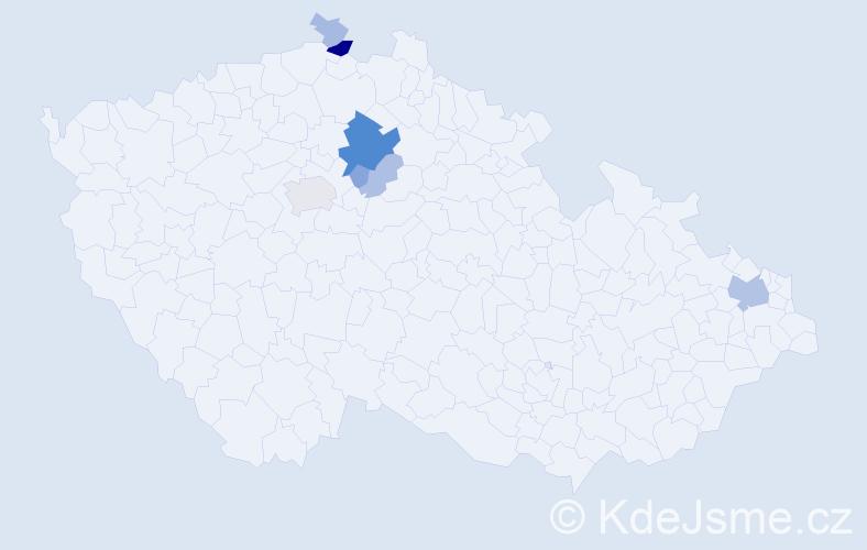 Příjmení: 'Hrobníková', počet výskytů 23 v celé ČR