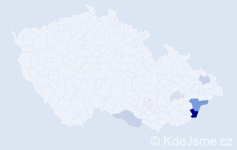 Příjmení: 'Haspala', počet výskytů 22 v celé ČR