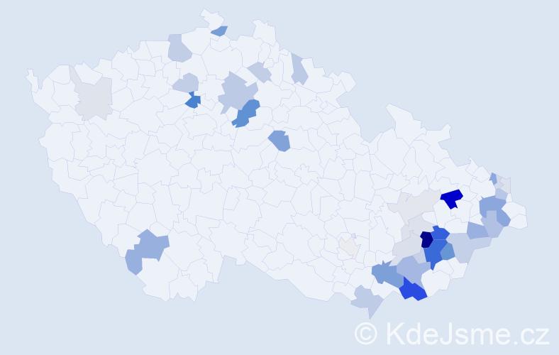 Příjmení: 'Kasala', počet výskytů 100 v celé ČR