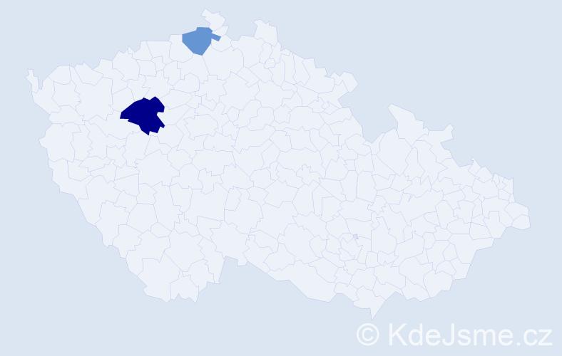 Příjmení: 'Hrivňaková', počet výskytů 3 v celé ČR