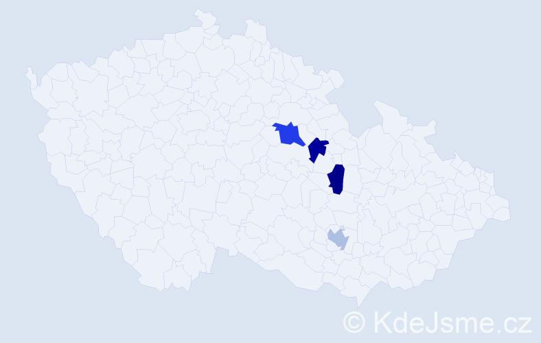 Příjmení: 'Castrová', počet výskytů 5 v celé ČR