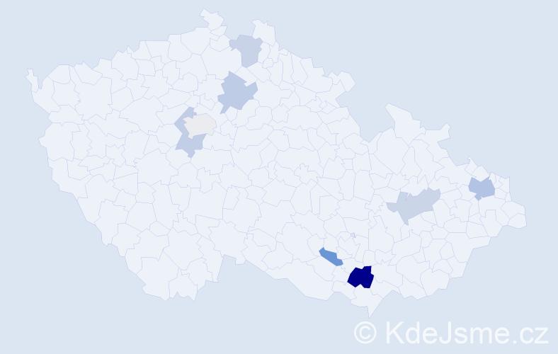 Příjmení: 'Čelouchová', počet výskytů 13 v celé ČR